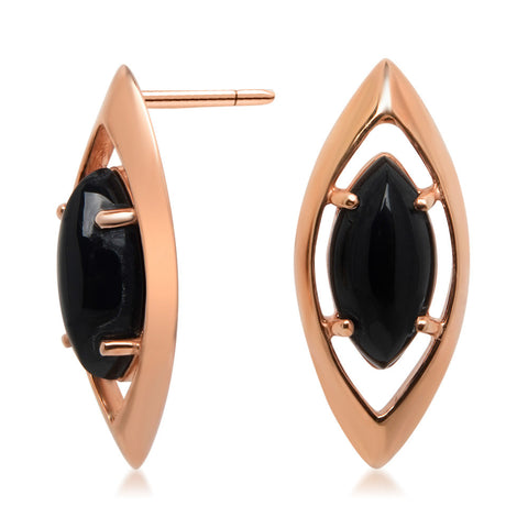 14K Gold over 925 Silver Earrings with Onyx