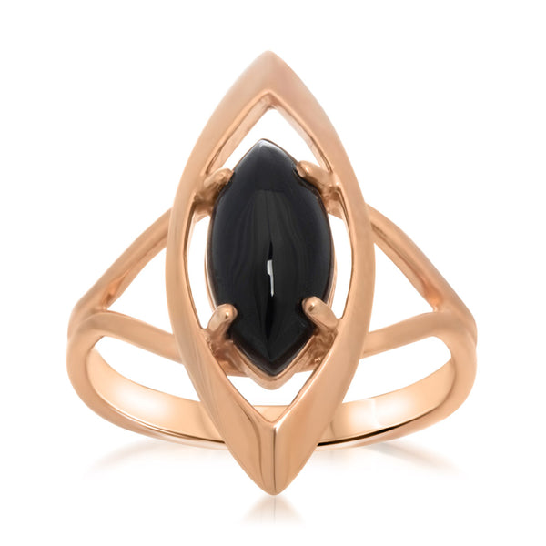 14K Gold over 925 Silver Ring with Onyx