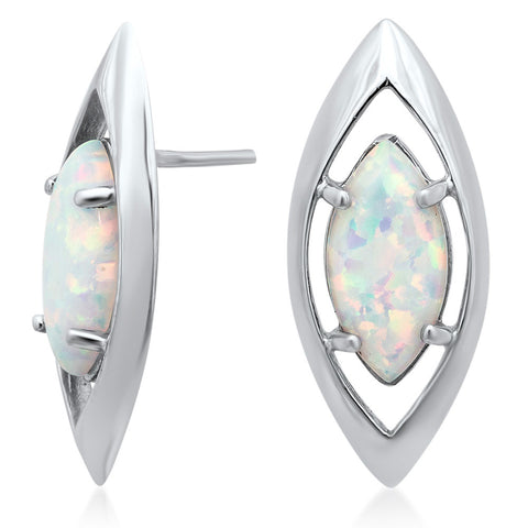 925 Silver Earrings with White Opal