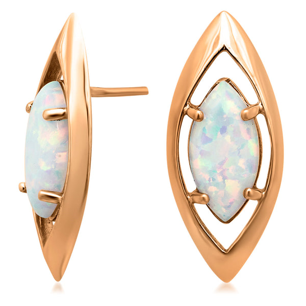 14K Gold over 925 Silver Earrings with White Opal