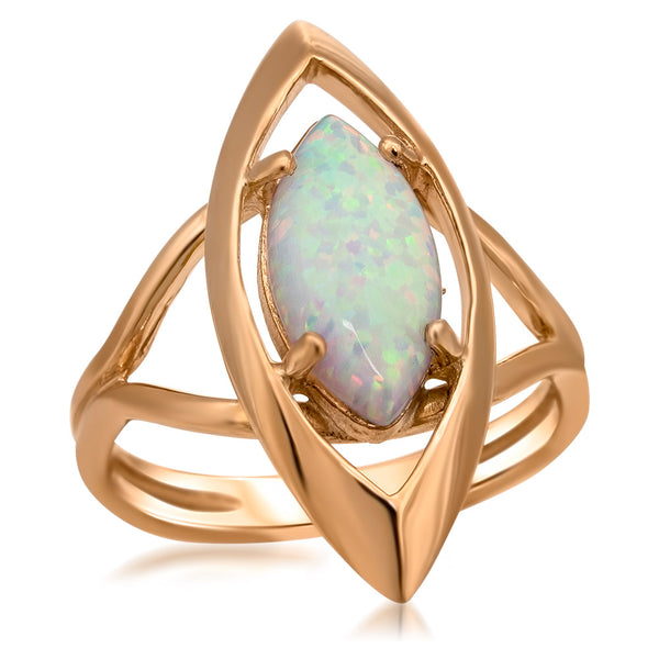 14K Gold over 925 Silver Ring with White Opal