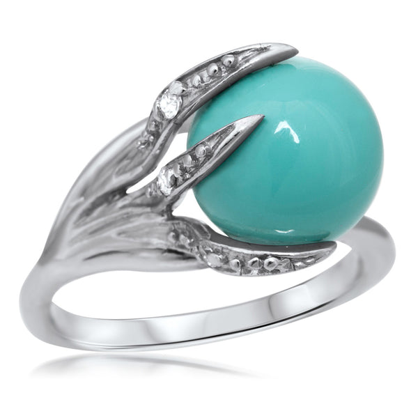 875 Silver Ring with Blue Shell Pearl