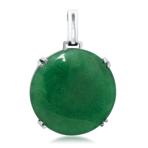 875 Silver Pendant with Green Agate
