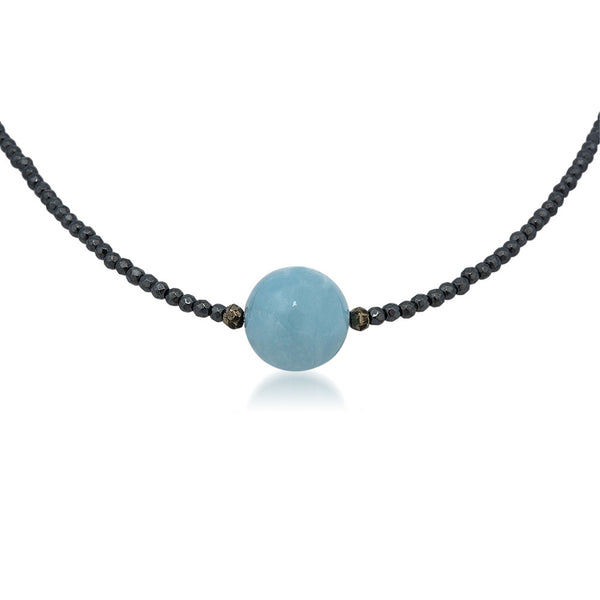 925 Silver Necklace with Aquamarine