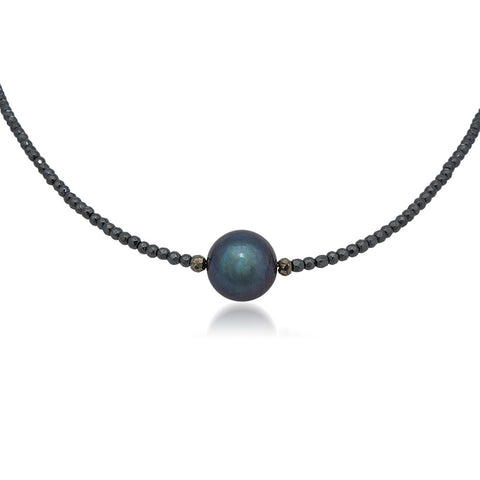 925 Silver Necklace with Black Cultured Pearl