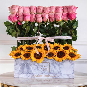 Sunflowers and Roses - Marble Rectangulaire