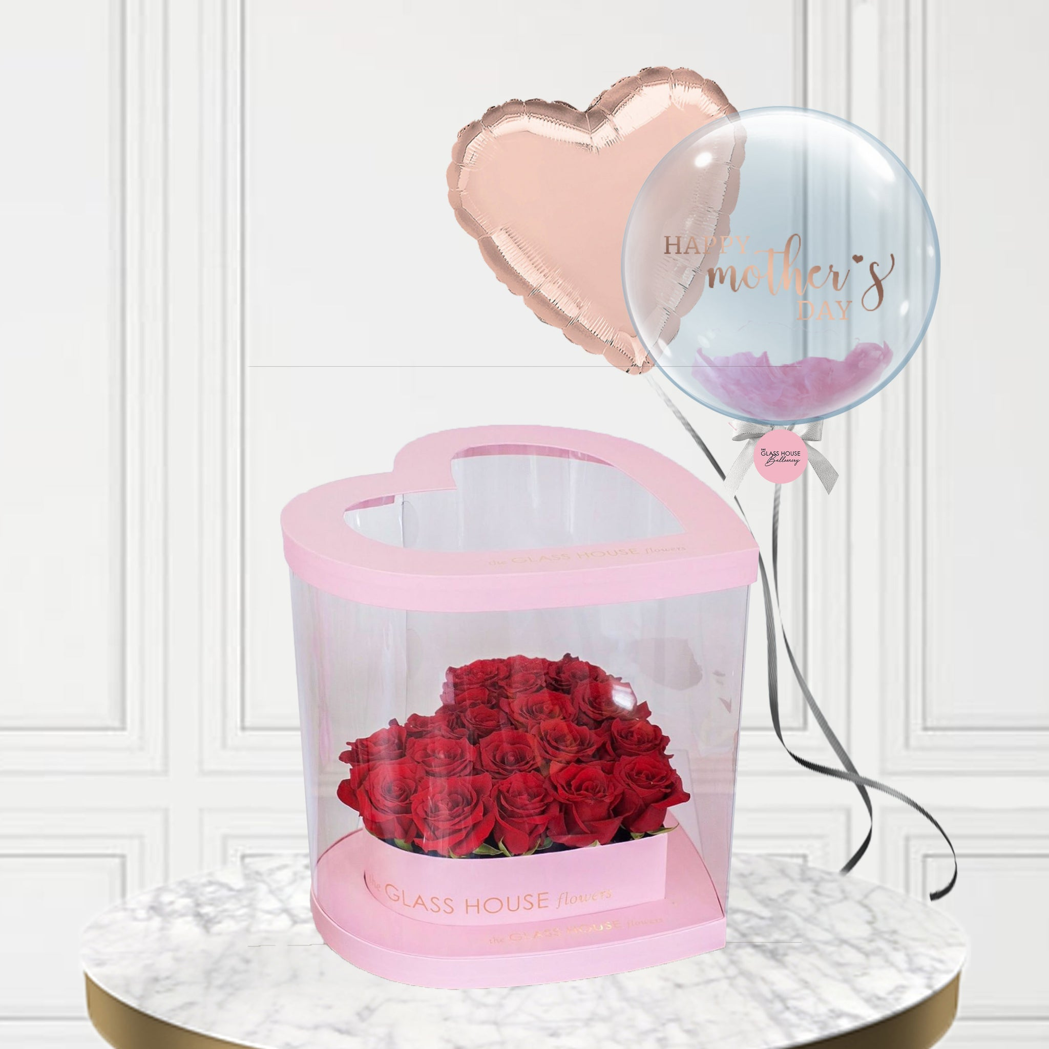 Pink Amour Box (Roses) + Heart Foil Balloon + Bubble Balloon
