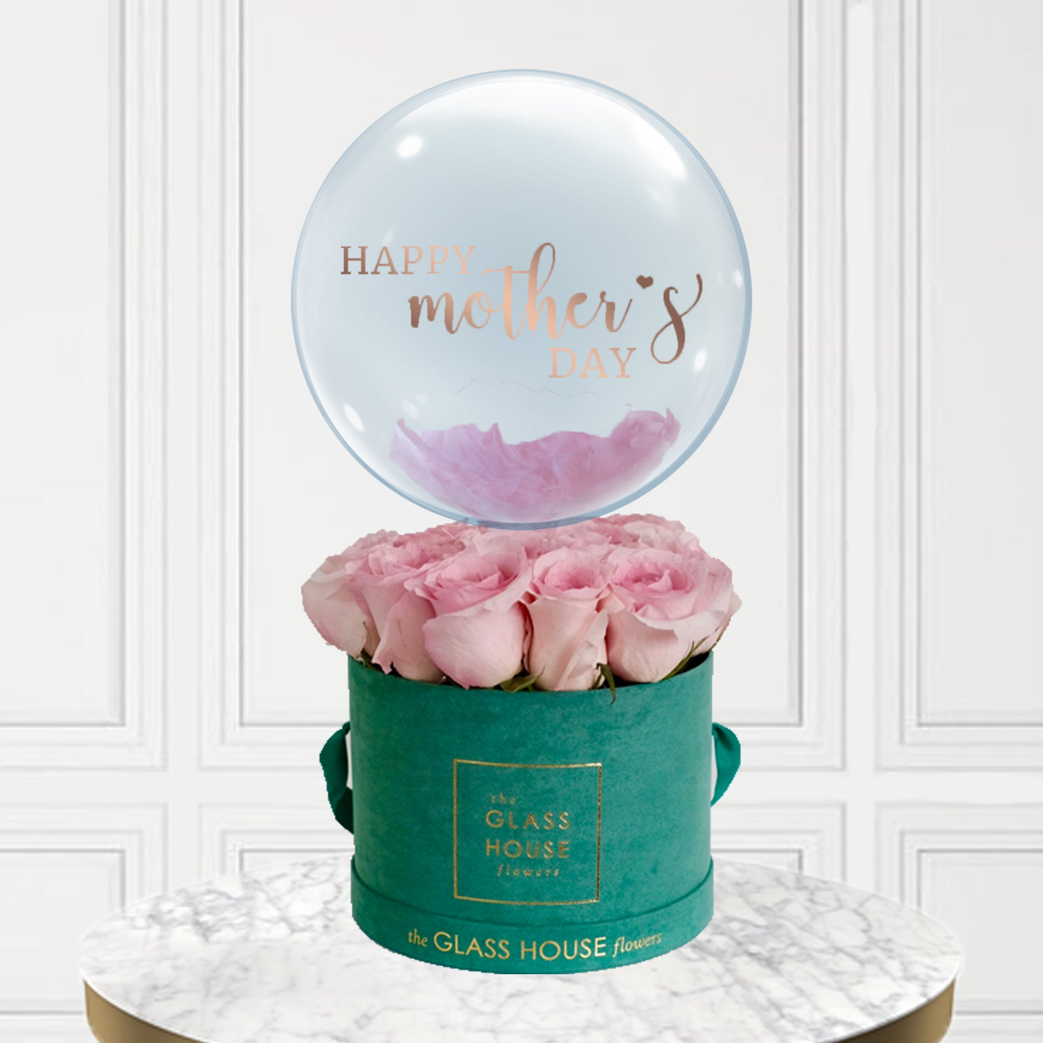 Emerald Velvet Box of Roses + Bubble Balloon