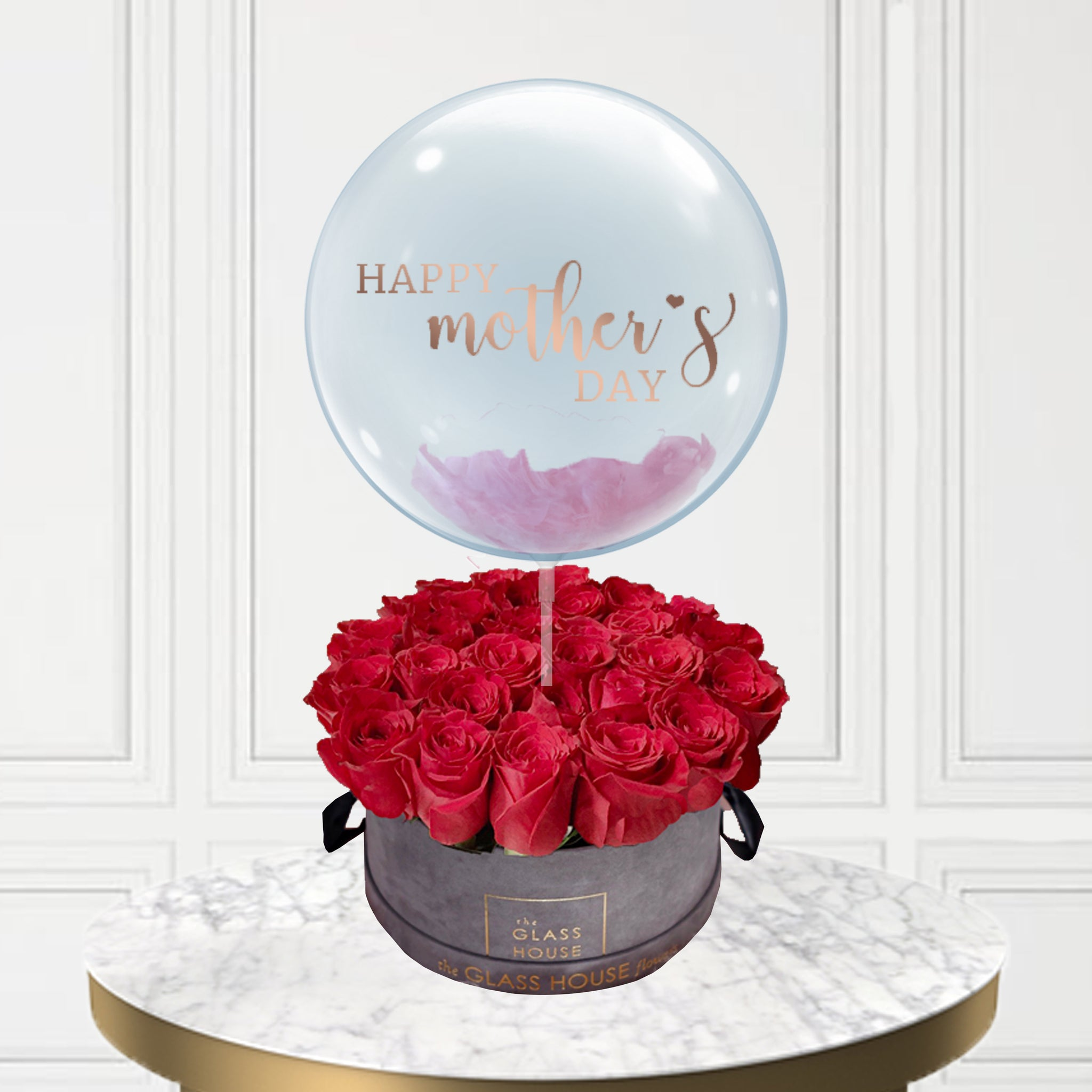 Gray Velvet Box of Roses + Bubble Balloon
