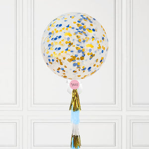 Jumbo Blue & Gold Confetti Balloon