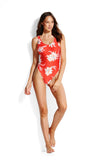 SEAFOLLY DESERT FLOWER RETRO TANK MAILLOT CHILLI