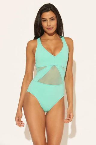 BLEU ROD BEATTIE V-NECK MESH STRAPPY CROSS BACK 1 PC - TURQS & CAICOS