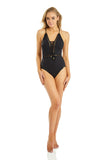 AZURA ADORN LACE UP ONE PIECE - BLACK