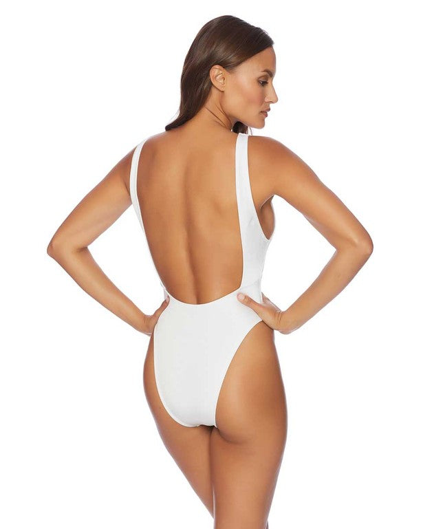 Basta Surf High Leg Eye Maillot Solid One-Piece Swimsuit - White