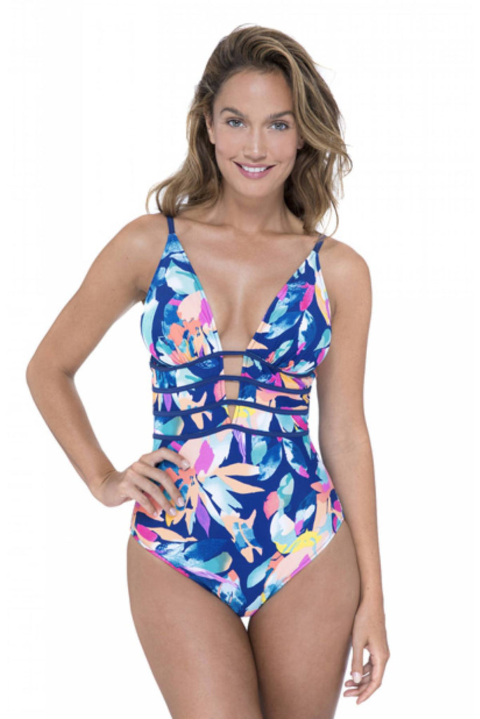 Profile by Gottex Bermuda Breeze V-Neck Plunge One Piece Swimsuit