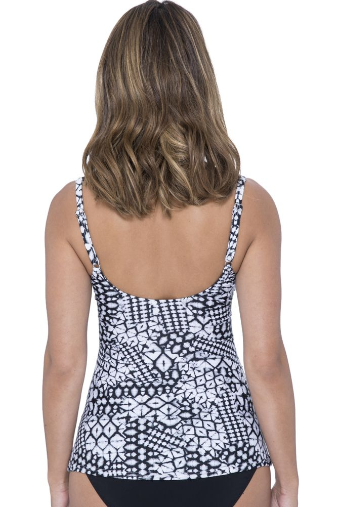 Profile by Gottex Tribal Batik D-Cup Scoop Neck Underwire Tankini Top
