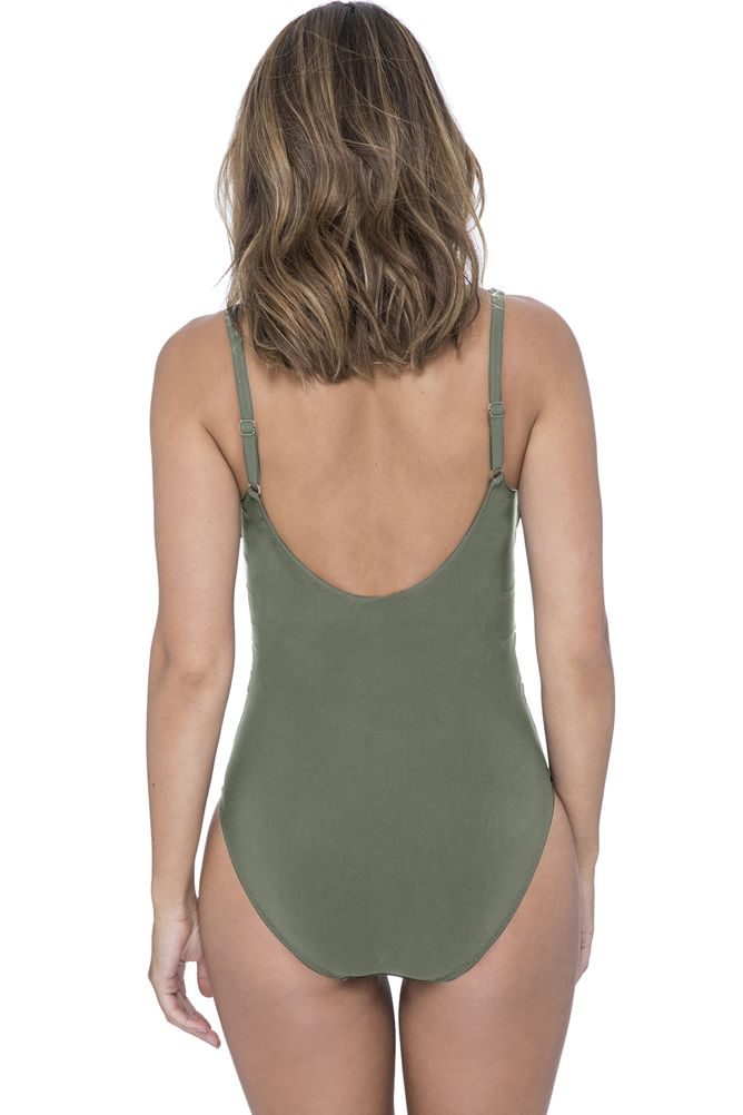 Profile by Gottex Moto Olive Side Shirred One Piece Swimsuit