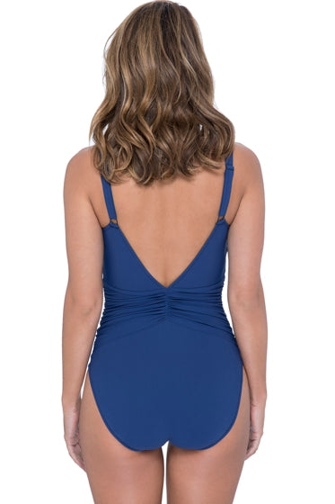 Profile by Gottex Murano Beaded V-Neck Shirred Waist One Piece Swimsuit