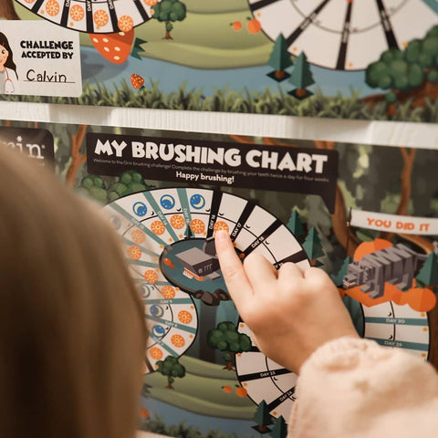grin natural kids oral care brushing chart