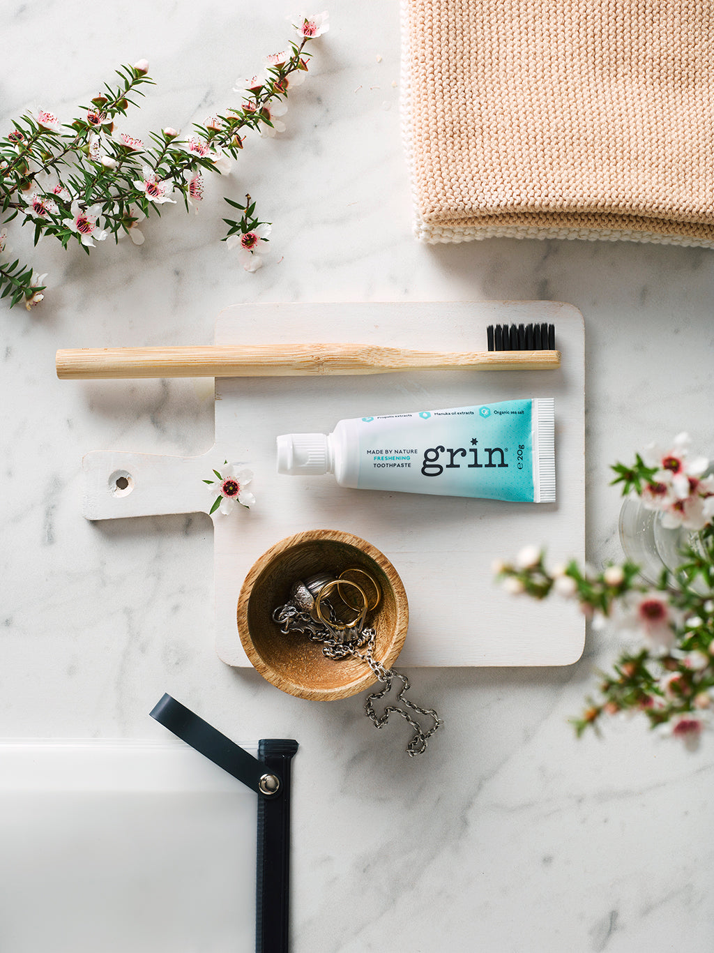grin natural toothpaste, flosser, oral care