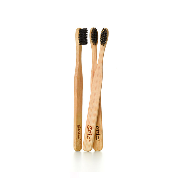 Grin Charcoal-Infused Bamboo Toothbrush Trio - GRIN - Grinnatural
