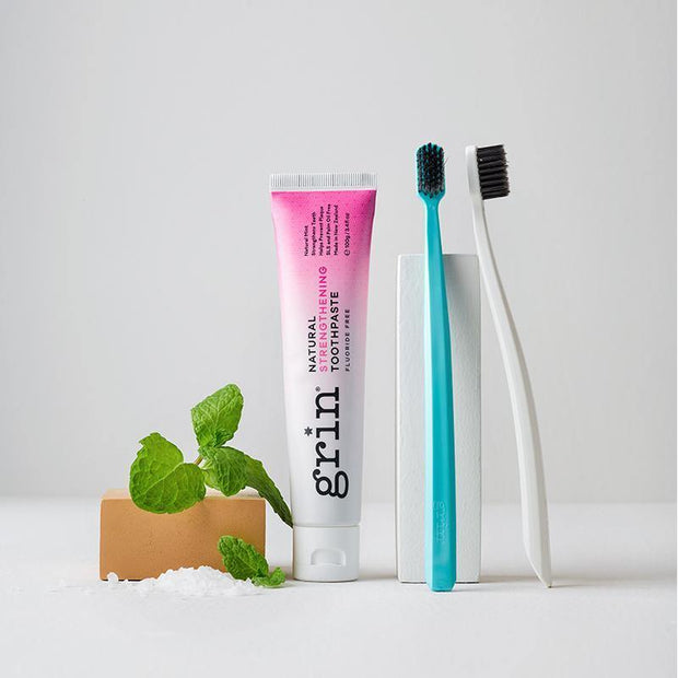 Grin Strengthening Toothpaste & Twin Pack Bio Toothbrush Set - GRIN - Grinnatural