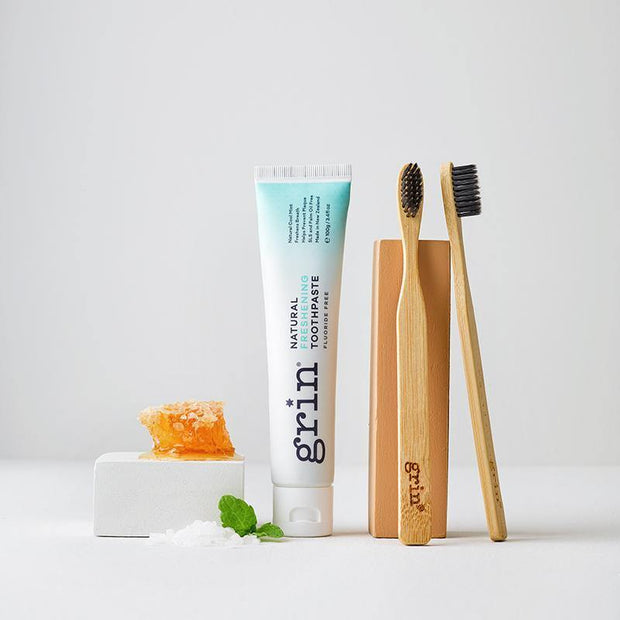 Grin Freshening Toothpaste & Twin Pack Bio Toothbrush Set-Grin Natural US