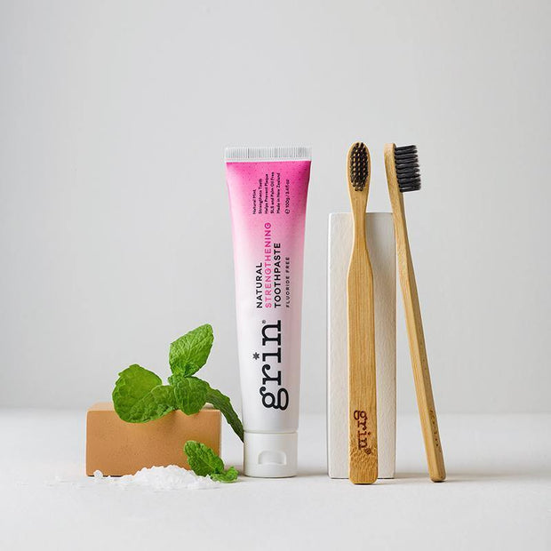 Grin Strengthening Toothpaste & Twin Pack Bio Toothbrush Set-Grin Natural US