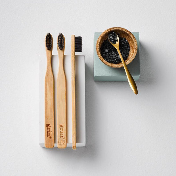 Grin Charcoal-Infused Bamboo Toothbrush Trio-Grin Natural US