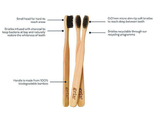 Grin Charcoal-Infused Bamboo Toothbrush - Twin Pack - Grin Natural US