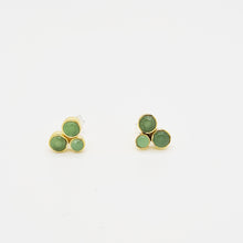 Load image into Gallery viewer, Green calcedonei Silver 925 & Brass Earrings