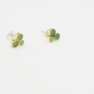Green calcedonei Silver 925 & Brass Earrings