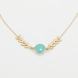 Goldplated Aqua Calcedony Necklace
