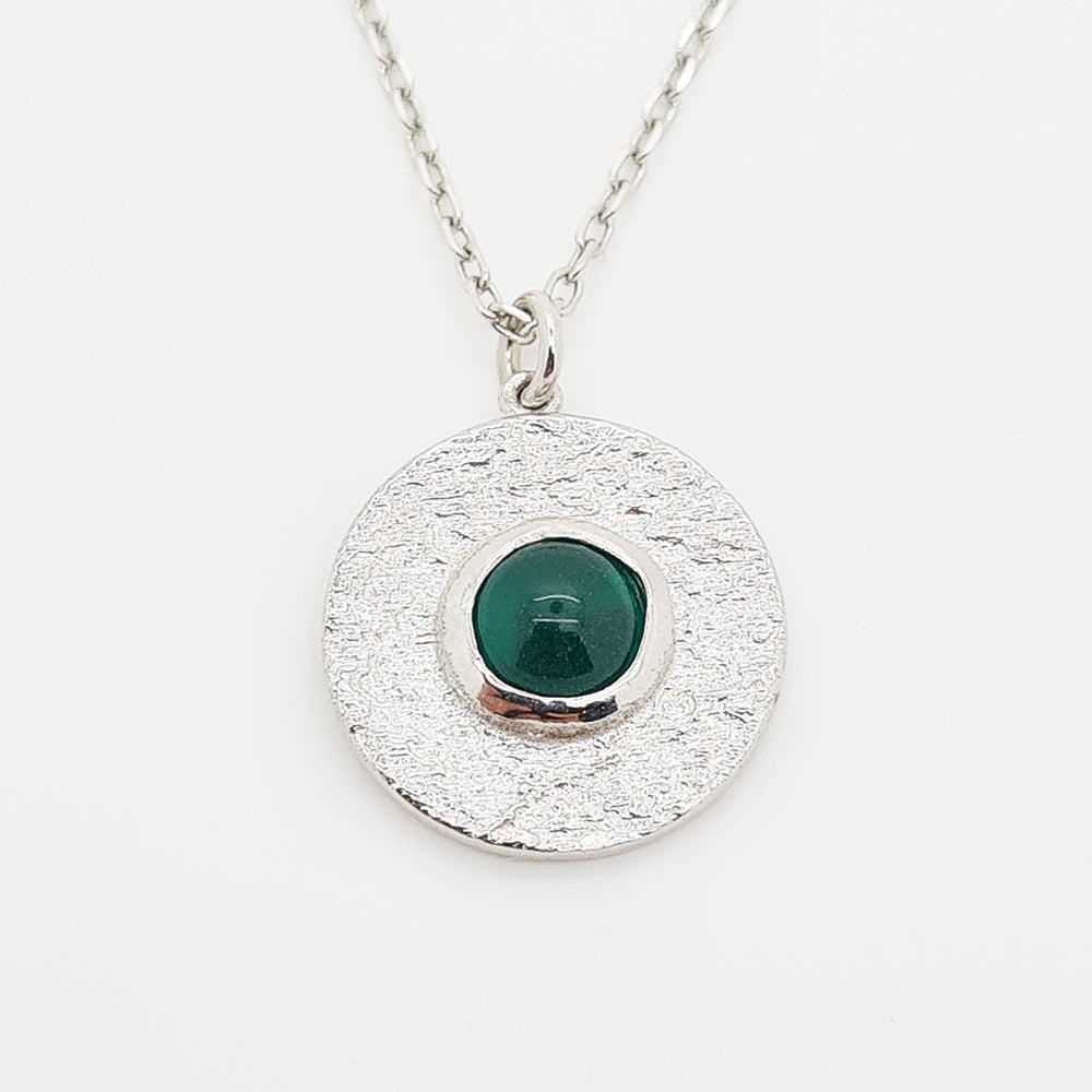 Green Onyx Sterling Silver 925 Necklace
