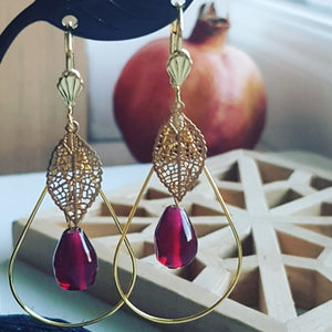 Pomegranate Earrings,Drop &  Glass Seeds