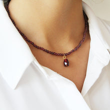 Load image into Gallery viewer, Pomegranate Necklace, Grenat Stones and Glass seeds
