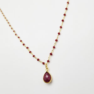 Ruby Goldplated Silver Necklace