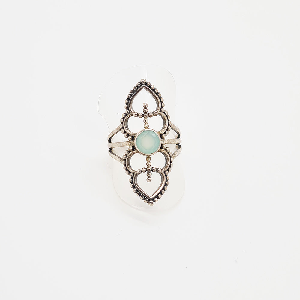 Silver Ring with Aqua Calcedonie