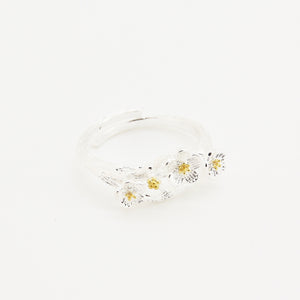 Silver Poetic Flower Ring