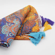 Load image into Gallery viewer, Anoush 100% Cotton Blue & Yellow Scarf - Yalda Concept Store Persan