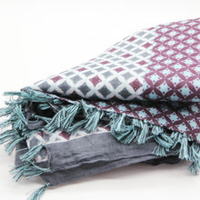 Load image into Gallery viewer, Anoush 100% Cotton Gray and Bordeau Scarf - Yalda Concept Store Persan