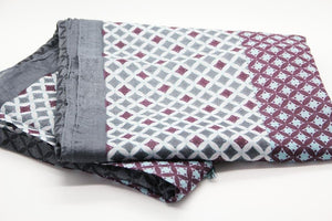 Anoush 100% Cotton Gray and Bordeau Scarf - Yalda Concept Store Persan