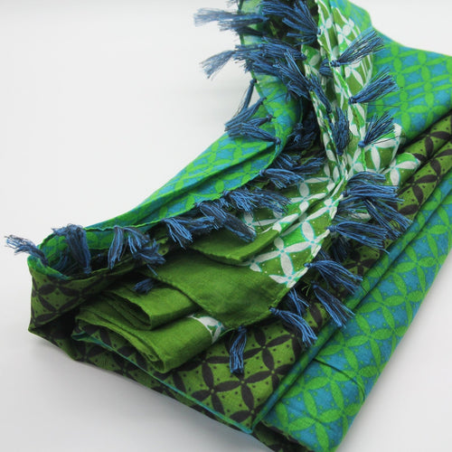 Anoush 100% Cotton Green Scarf - Yalda Concept Store Persan