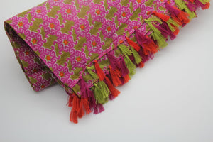 Anoush 100% Cotton Pink and Green Scarf - Yalda Concept Store Persan