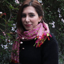 Load image into Gallery viewer, Anoush 100% Cotton Pink and Green Scarf - Yalda Concept Store Persan