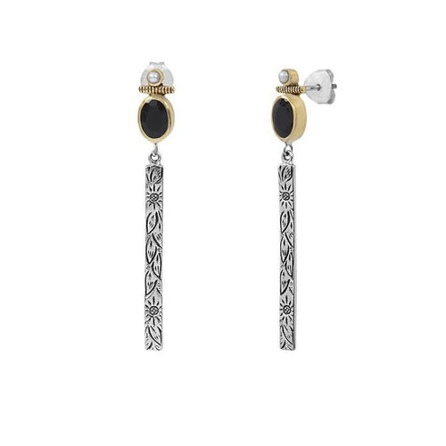 Bohème Chic Black Onyx Dangling Earrings - Yalda Concept Store Persan