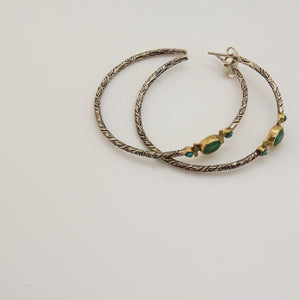 Bohème Chic Green Hoop Earrings - Yalda Concept Store Persan