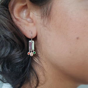 Charming Silver & Tiny Stones Earrings - Yalda Concept Store Persan