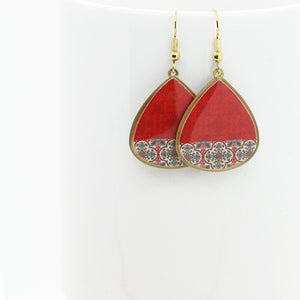 Delicate Patterns Earrings, Red Drops - Yalda Concept Store Persan