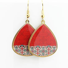 Load image into Gallery viewer, Delicate Patterns Earrings, Red Drops - Yalda Concept Store Persan